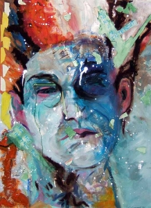 Susan Livengood painting mixed media on paper, art self portrait