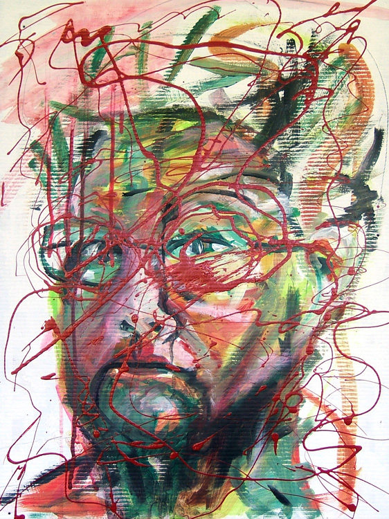 Susan Livengood mixed medi on plastic board, artist self portrait