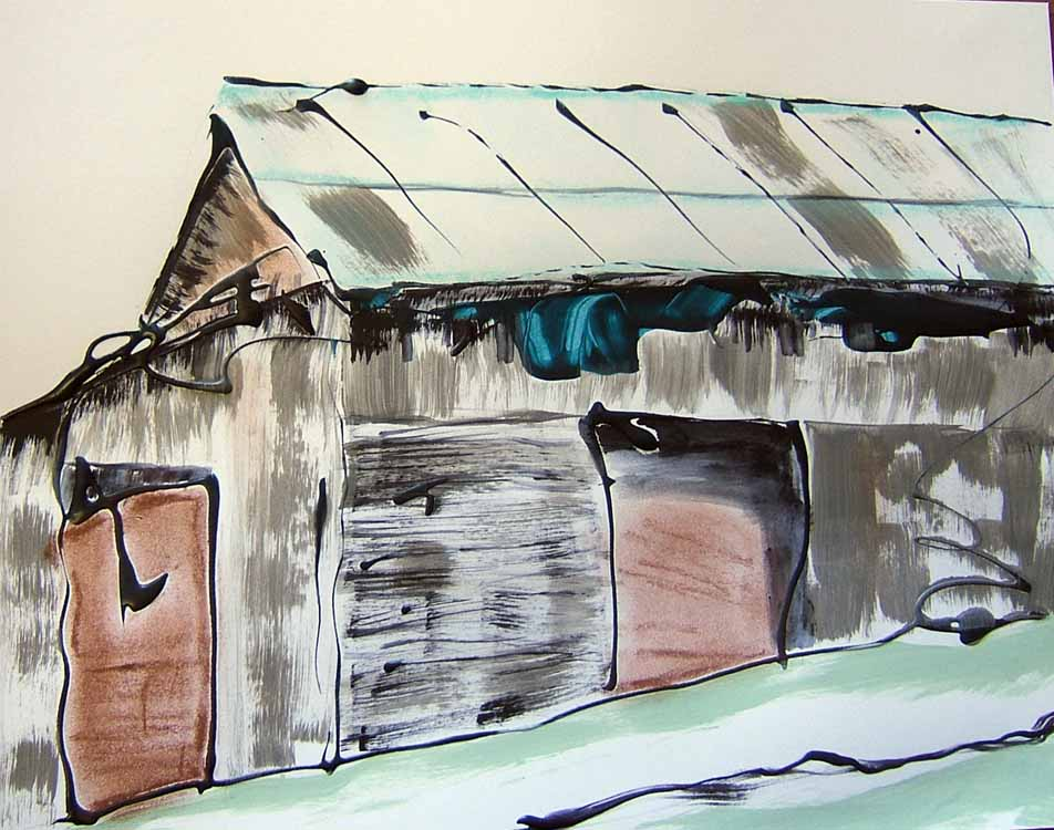 Barn mixed media paper Susan Livengood art