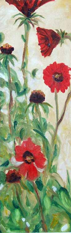 Blanket Flowers, oil painting on paper Susan Livengood artist