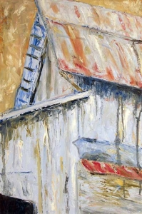 Susan Livengood oil  painting on paper Blue Barn art