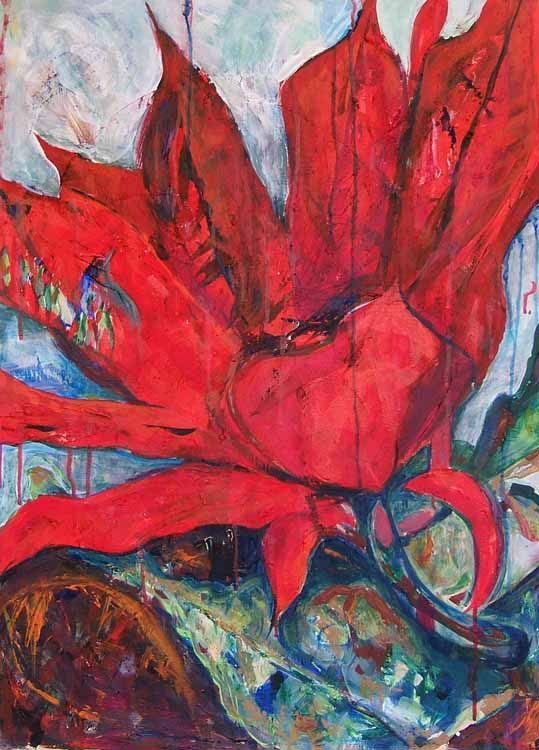 Cereus, acrylic painting on paper Susan Livengood artist