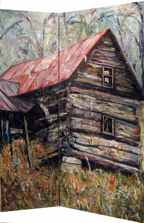 Susan Livengood  oil painting on screen log cabin art