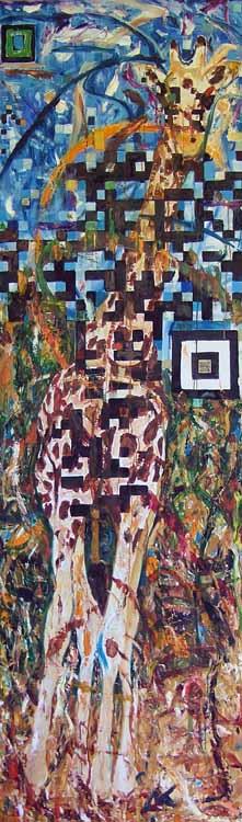 Giraffe, oil painting on panel Susan Livengood art