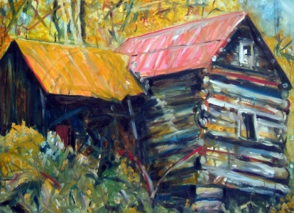 Susan Livengood oil painting on paper Log Cabin with Yellow and Red Roof art