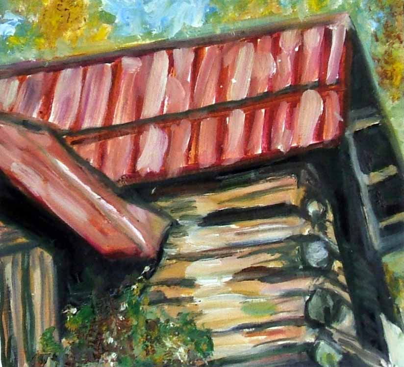 Susan Livengood oil painting on paper Log Cabin with Red Metal Roof art