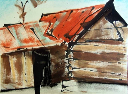 Susan Livengood painting on paper Log Cabin with Rust Red Roof art
