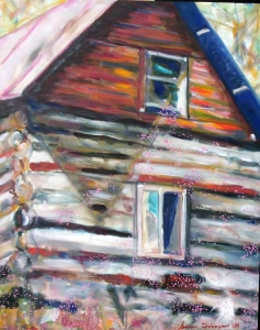 Susan Livengood oil painting on canvas Log Cabin with Thistles