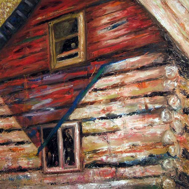 Susan Livengood oil painting on canvas Log Cabin with Red Shadow art