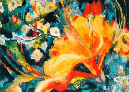 Yellow Flame Azalea, acrylic painting on paper Susan Livengood artist