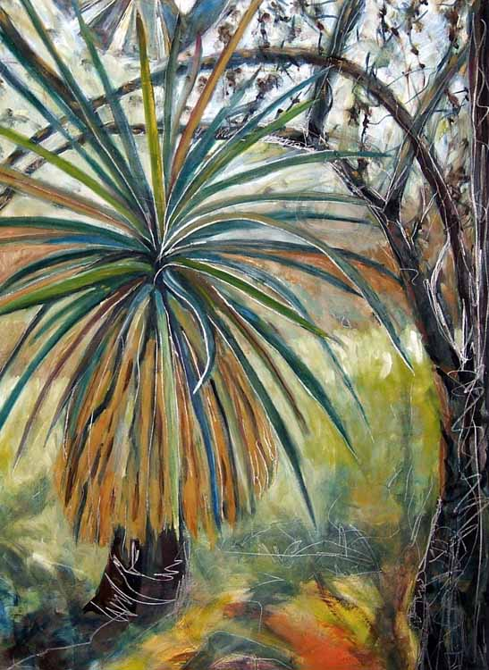 Yucca and Windmill, oil painting on paper Susan Livengood art