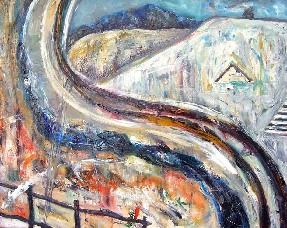 Icy Road, oil painting on canvas Susan Livengood art