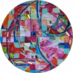 Ideal Earth, mixed media art on panel Susan Livengood