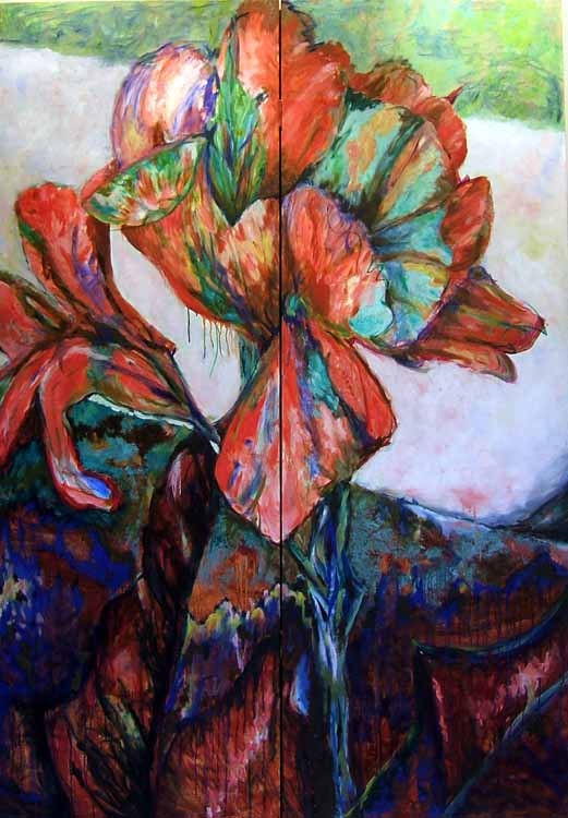 Canna Screen 2, oil painting on panels Susan Livengood artist