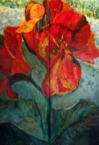 Canna Screen, oil painting on panels Susan Livengood art