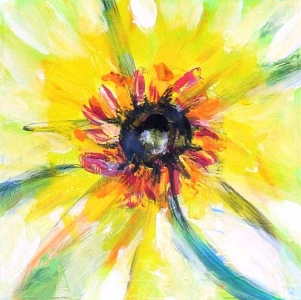 Sunflower 2 acrylic painting on paper Susan Livengood art
