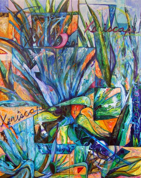 Xeriscape, oil painting on panels Susan Livengood artist